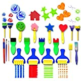 Color mogu 21 Pieces Flower Sponge Painting Brushes for Kids Early Learning Painting Drawing Tools for Craft DIY Art Supplies