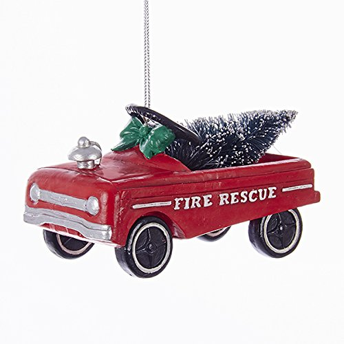 Red Pedal Car Fire Rescue Ornament