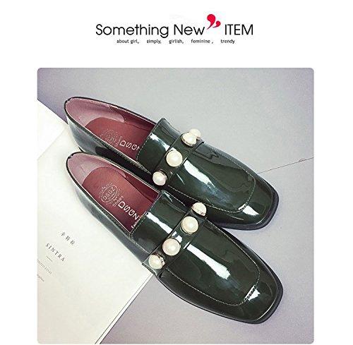 Gaorui Mujeres Coats Slippers Zapatos Planos Casual Fashion Slip On Con Perla Artificial Round Lace Black Green