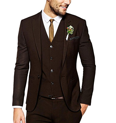 Lilis Men's Fashion Dark Brown Men Suit 3 Pieces Wedding Suits Groom Tuxedos (Brown Tuxedo)