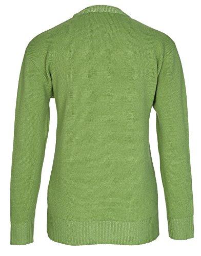 Jersey de punto jersey para mujer, grueso, manga larga, diseño clásico, tallas grandes Loro Verde