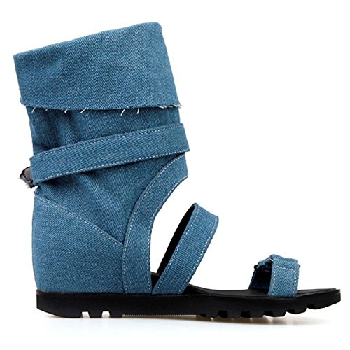 COOLCEPT Women Fashion Boots Sandals Wedges Increasing Heel Bootie Demin Shoes Blue YsLuwMailQ