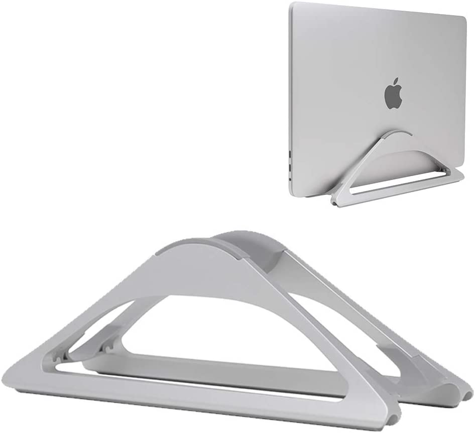 HumanCentric Vertical Laptop Stand for Desks (Silver) | Adjustable Holder to Dock Apple MacBook, MacBook Pro, and Other Laptops to Organize Work & Home Office