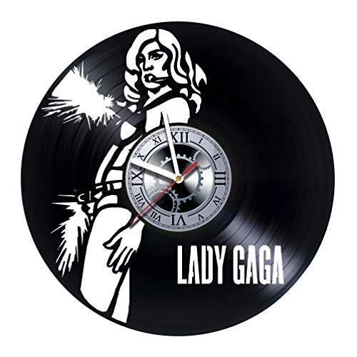 studioRUTART Lady GAGA - Wall Clock Made of Vinyl Record - Handmade - Unique Design - Incredible Gift Idea for Christmas Birthday Anniversary Women Men Boyfriend Girlfriend Teens Friends