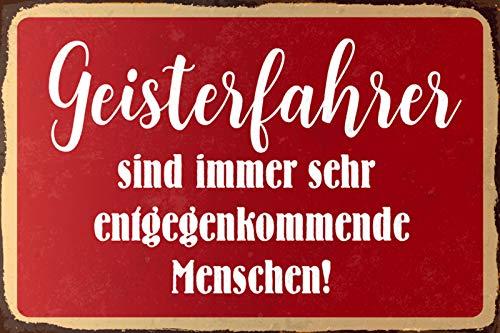 Plaque métallique avec inscription en allemand « Geisterfahrer sind Menschen » 20 x 30 cm