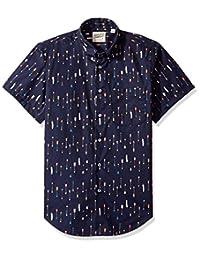 Naked & Famous Denim mens Arrows Print Short Sleeve Button Down Shirt