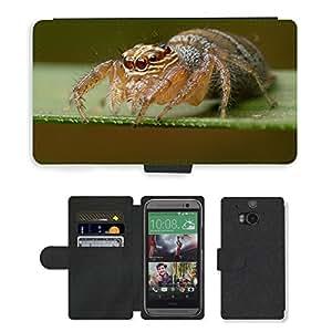 hello-mobile PU LEATHER case coque housse smartphone Flip bag Cover protection // M00137446 Araña Madagascar Arácnido Naturaleza // HTC One M8