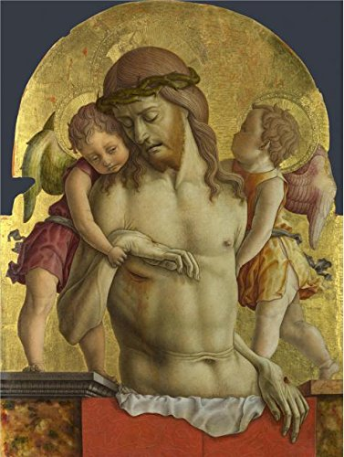 Oil Painting 'Carlo Crivelli - The Dead Christ Supported By Two Angels,about 1470-5' Printing On High Quality Polyster Canvas , 10x13 Inch / 25x34 Cm ,the Best Garage Artwork And Home Artwork And Gifts Is This Reproductions Art Decorative Canvas (Restoration Theatre Costumes)