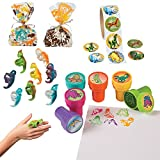 William & Douglas Dinosaur Party Bundle | Supplies Favors and Giveaways for Children's Dinosaur Birthday Party | Dinosaur Stickers, Cellophane Bags, Rings & Stampers