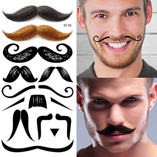 [Supperb Temporary Tattoos - Mustache Set] (Fake Beards That Look Real)