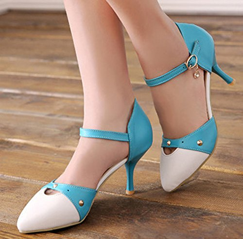 Aisun Womens Fashion Studded Cutout Pointed Toe Buckled Dress Kitten Heels Pumps Stiletto Shoes With Ankle Straps Blue 8DgVKIxx