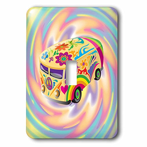 3dRose lsp_119158_1 Funky Retro Hippie Sixties Seventies Bus with Swirly Psychedlic Background Single Toggle Switch