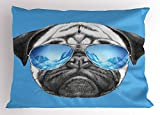 Ambesonne Pug Pillow Sham, Pug Portrait with Mirror Sunglasses Hand Drawn Illustration of Pet Animal Funny, Decorative Standard Queen Size Printed Pillowcase, 30 X 20 inches, Pearl Blue Black