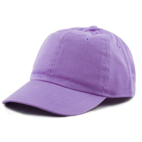 The Hat Depot Kids Washed Low Profile Cotton and Denim Plain Baseball Cap Hat (Lilac)