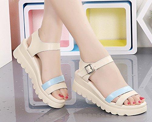 plano sandalias 3 JIANGU plataforma XL sandalias Student fangos de tacón fondo de con y zapatos con Nuevas verano sandalias qRB4FWUqT