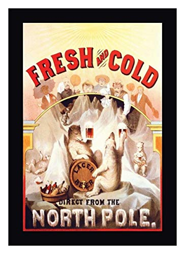 Canvas 1877 Framed (Fresh and Cold - Direct from The North Pole, 1877 by F. Klemm - 16