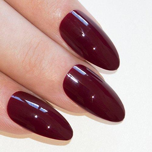 Bling Art Almond False Nails Fake Stiletto Cherry Polished 24 Long Tips (Shaped Glue)