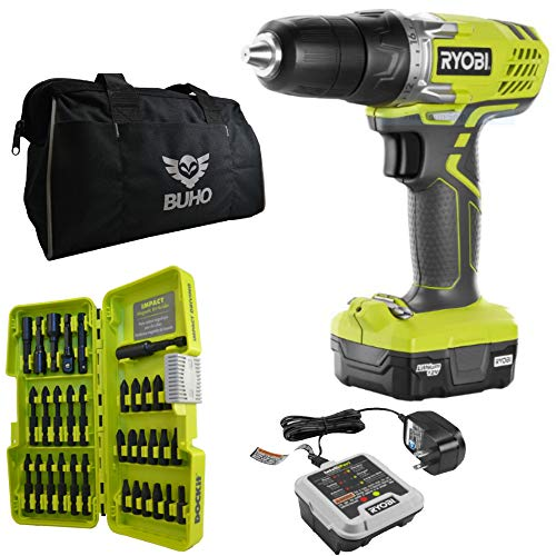 Ryobi 12-Volt Drill Bundle, HJP003 12-Volt Lithium-Ion Cordless 3/8 in. Drill/Driver Kit with 12-Volt Battery, Charger, 34 Piece Drill Bit Set and 15 Inch Buho Tool ()