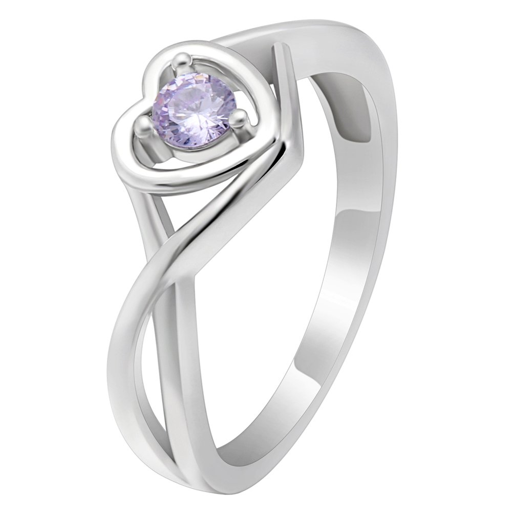 Christine Sterling Silver Lilac CZ June Birthstone or Engagement Bridal Wedding Ring Ginger Lyne