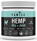 Hemp Hip & Joint Supplement for Dogs with Organic Hemp Oil, Glucosamine, Turmeric, MSM - for Joint Support, Mobility, Arthritis Pain Relief and Anxiety - 120 Soft Chews