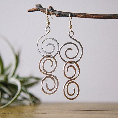 Dangly Triple Spiral Earrings Handmade with Love in the Dominican Republic by The Madres Collective.