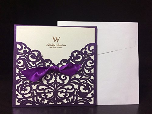 """Graces Dawn 50pcs Laser-cut Lace Flower Pattern Wedding Invitations Cards(set of 50pcs) and Blank Cards and Envelopes 6 x 6"""" - Value Pack (Purple Invitations)"""