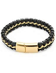 UTOVME Fashion Genuine Leather Two Tone Cross Braided Stainless Steel Buckle Bracelet 8.5""