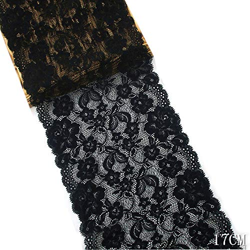 5 Yards Tulle Stretch Elastic Lace Trims Floral Pattern Embroidered Lace Fabric for Underwear Garment Sewing Decor DIY Craft Supply 6-1/4 inch (16cm) Wide (Black)