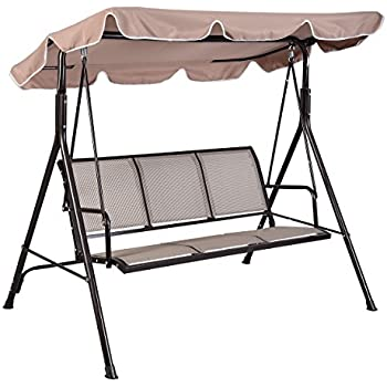 outdoor patio swing set seat replacement canopy parts person awning yard furniture hammock steel beige