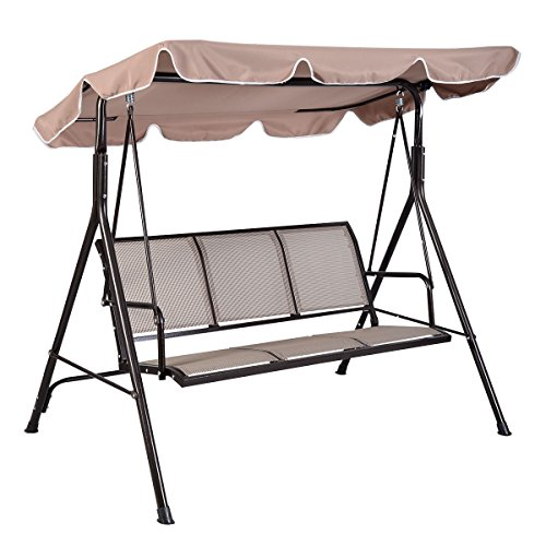 Giantex 3 Person Outdoor Patio Swing Canopy Awning Yard Furniture Hammock  Steel Beige