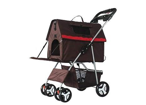 Aoligei Carrito para Mascotas Pet Stroller Carro de Perro Plegable Lavable Partido Carro de Cuatro Ruedas