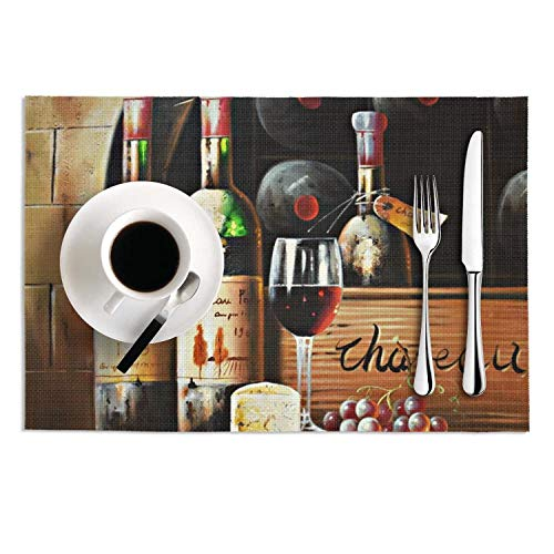 Wine Themed Oil Painting on Canvas Tablemats Set of 2 Woven Vinyl Placemats Insulation Kitchen Dining Table Mats Decoration