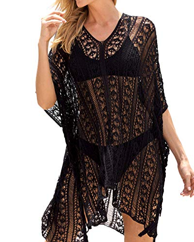 RSLOVE Women's Summer Swimsuit Cover up Bikini Beach Bathing Suit Swimwear Pool Crochet Dress Black