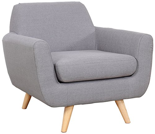Mid Century Modern Linen Fabric Living Room Accent Chair (Light Grey) -  - living-room-furniture, living-room, accent-chairs - 51EycAsovSL -