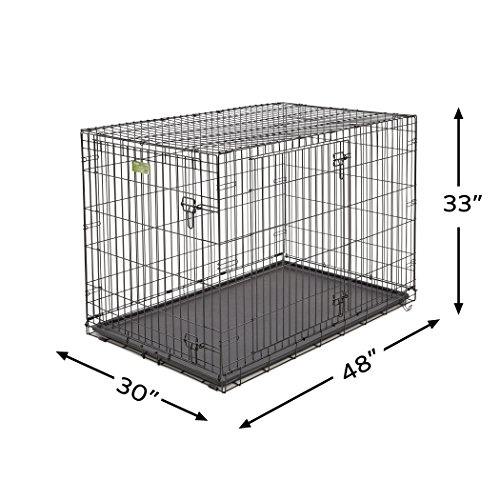 XL Dog Crate | MidWest iCrate Double Door Folding Metal Dog Crate w/ Divider Panel, Floor Protecting Feet & Leak-Proof Dog Tray | 48L x 30W x 33H Inches, XL Dog Breed, Black by MidWest Homes for Pets (Image #4)