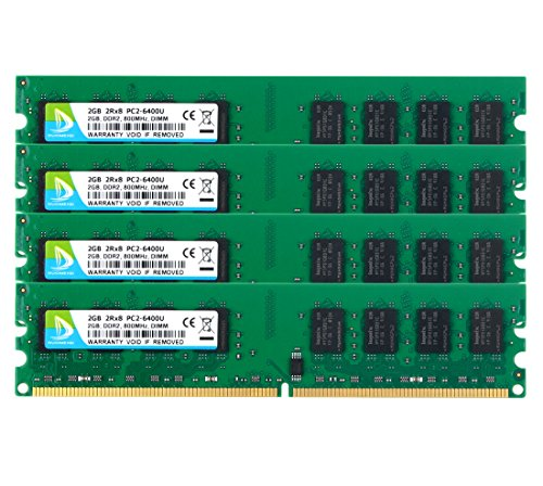 DDR2-800, PC2-6400, DUOMEIQI DDR2 PC2-6400 DDR2 8GB Kit (4x2GB) DDR2 Ram PC2-6300 2Rx8 240 pin CL6 1.8v DDR2 Desktop Computer RAM Memory 240 Pin Micron Chip