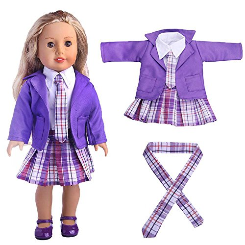 4PC Student Clothing Pleated Dress Uniform Outfit Replaceable Cloth For 18 inch American Girl Doll (PURPLE) ()