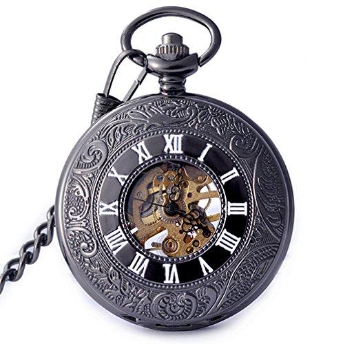 White Dial Skeleton Black Case Mechanical Manual Winding Mens Pocket Watch ()