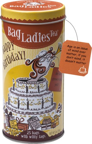 (Bag Ladies Tea Happy Birthday Tea Tin, 25 Teabags of English Breakfast Tea)