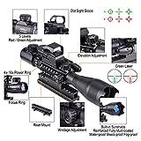 Pinty Rifle Scope 4-16X50EG Illuminated Optics Sight Green Laser, Holographic Dot Sight, Riser Mount 14 Slots Elevation & Windage Adjustment