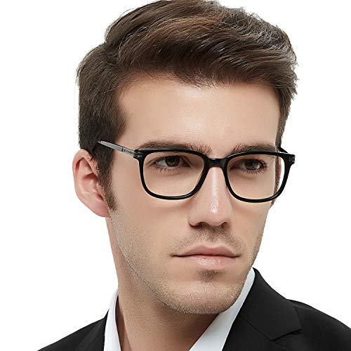 Men's RX Eyeglasses Frame Fashion Non Prescription Eyewear Rectangular Lightweight Glasses (Black -