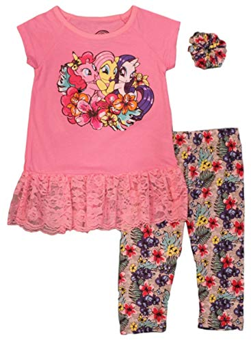 My Little Pony Little Girls' Leggings Set with Hair Accessory, Pink (3T) -