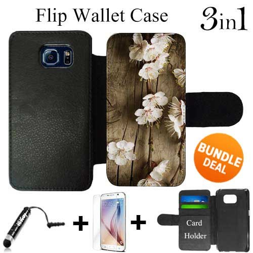 702 Blossom (Cherry Blossom Wood Custom Galaxy S6 Cases Flip Wallet Case,Bundle 3in1 Comes with HD Tempered Glass/Universal Stylus Pen by innosub)