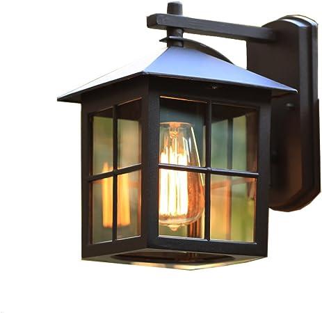 Trational Vintage Outdoor Lámpara de Pared Impermeable Aplique, Villa Puerta Jardín Hotel Pasillo Balcón Garaje Rejilla de Vidrio Aluminio E27 Lámpara de Montaje en Pared, Ancho: 19CM 111V ~ 240V Wall: Amazon.es: