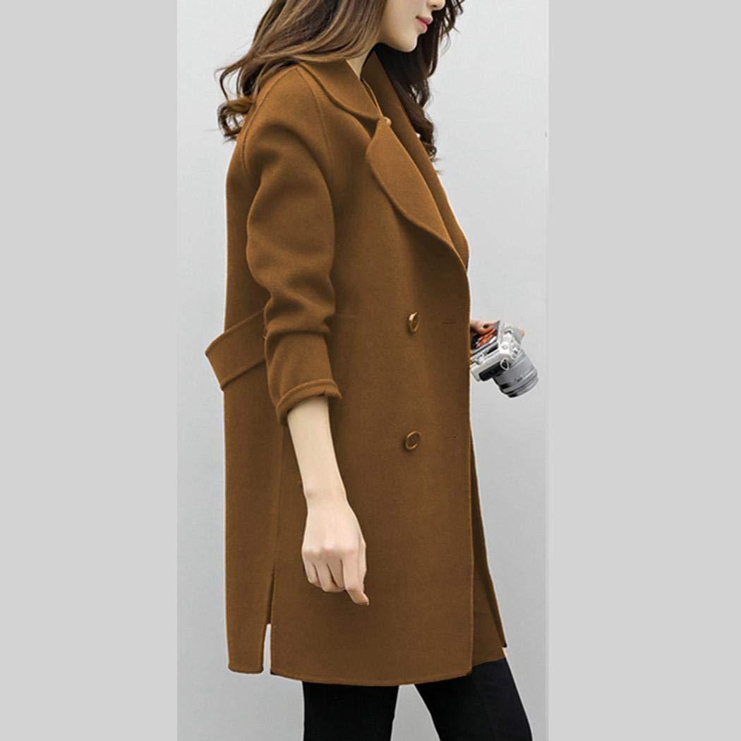ladiy Women Fashion Double Breasted Woolen Long Coat Wool /& Blends