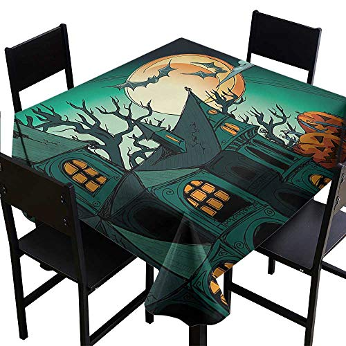 Glifporia Wedding Banquet Table Halloween,Haunted Medieval Cartoon Style Bats in Twilight Gothic Fiction Spooky Art Print,Orange Teal,W70 x L70 Tablecloths