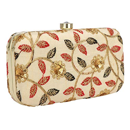 Hand Crafted Designer Box Clutch with Zari Embroidery Work on Silk Texture Specially Designed (Golden with leaf Print)