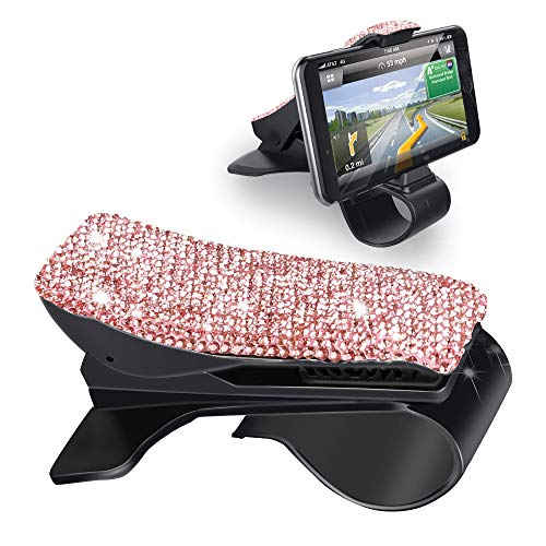 Henstar Car Phone Holder Bling Sparkly Crystal Diamond Dashboard Cell Phone Holder HUD Car Mount Bracket Car Cradle Compatible with iPhoneX/8/8 Plus, Samsung and More Smartphones (Pink-Diamond)