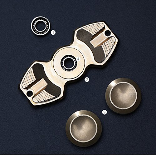 FREELOVE Armed Shark Armor Warrior Fidget Spinner Toy Stress Reducer Premium EDC Disassembly With 606 Stainless Steel Bearings Helps Focus, Stress, Anxiety, ADHD, Boredom. (Pure Brass, Gold) by FREELOVE (Image #2)