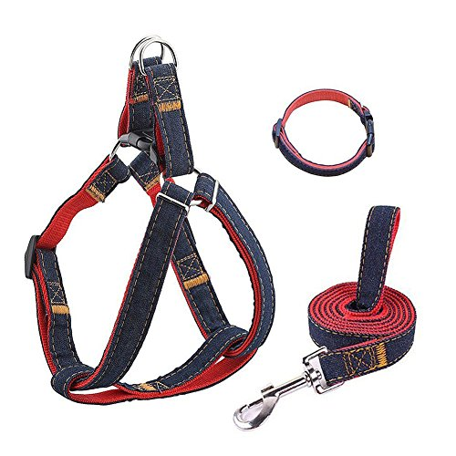 Kiomi Dog Harness, Adjustable Durable Heavy Duty Denim Dog Leash Harness Collar, Perfect for Daily Training Walking Running, Suitable for Small, Medium and Large Dog